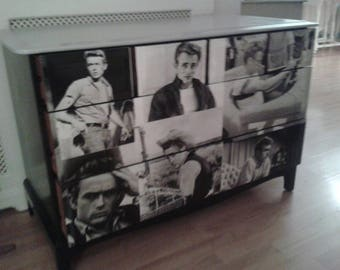 NOW SOLD  .....2  vintage 6 drawer chests ....handpainted in black ... decoupage  in mariyin monroe / James dean  ... unique .....