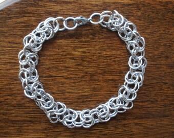 Mens Aluminum Byzantine Weave Chainmaille Bracelet