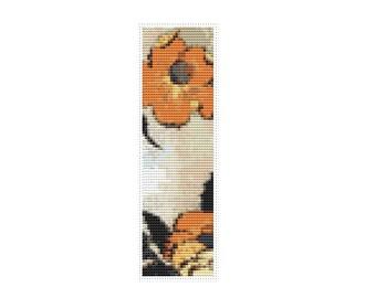 Poppies Bookmark Cross Stitch Pattern PDF, Asian Cross Stitch Chart, Art Cross Stitch, Katsushika Hokusai, Embroidery Chart