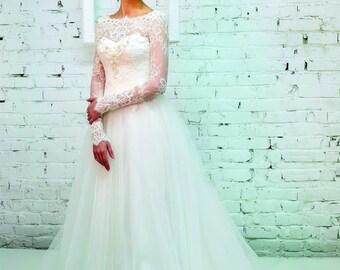 Ivory wedding dress, Lace Wedding Dress,  Wedding Dress Long Sleeve,  Bridal Gown Long Sleeves, boho wedding dress, corset bridal gown, gown