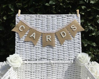 Shabby chic Hessian Cards wedding bunting white Hand Made in UK