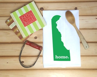 Delaware State Flour Sack Towel, Delaware State Tea Towel, Flour Sack Tea Towel, Housewarming Gift, Wedding Gift, Real Estate Gift, Map Art