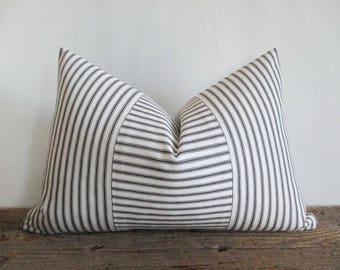 Lumbar Pillow Cover Black Ticking Vertical & Horizontal Stripes Zipper