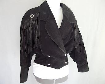Black Suede Fringe Jacket by G3, Bomber Western Jacket, Vintage 1980's Biker Jacket, Modern Size 6 to 8, Small