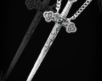 Celtic sword pendant necklace gothic sword necklace with ivy orned with a gem of your choice celtic sword norse sword mozeypictures Choice Image