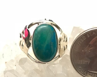 Genuine Peruvian Blue Opal  Ring, Size 10