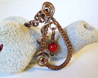 Red Coral Necklace, Copper Wire Weave Pendant, Copper Plated Chain with Red Coral Beads