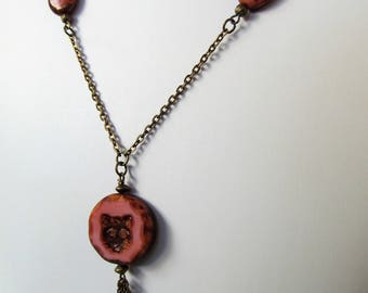 Rose Pink Kitty Cat Czech Glass Antiqued Brass Chain Necklace - Long 32 inches - BeadedTail - Cat Lover Gift - Cat Lady Gift
