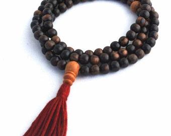 Tiger Ebonywood Buddhist Rosary Necklace - Small Dark Wood Mala Prayer Beads with Sandalwood & Silk