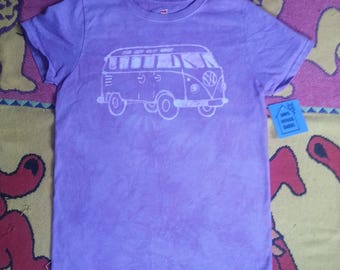 VW Bus Batik Purple Women's Small With Bird
