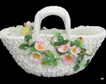 19th Century German Porcelain Schneeballen style Flower Basket