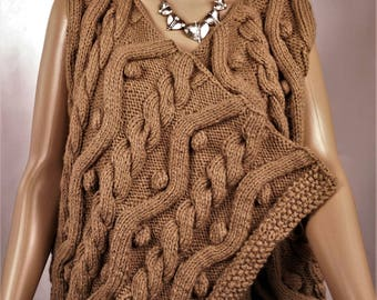 Women's Cardigan, vest made Bohemian vest, knitted sweater, brown vest, warm vest, winter vest