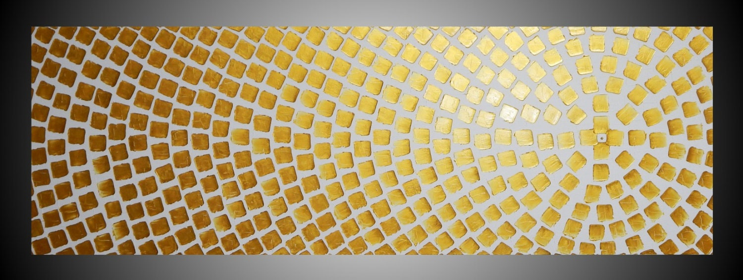 Large painting on canvas Oversized art White and Gold Metallic