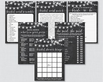 Chalkboard Bridal Shower Games Package with Six Games- Printable Rustic Chalkboard Bridal Shower Games - He Said She Said, Bingo, etc 0005