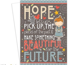 Greeting Card, Hope, Inspirational Art, Greeting Card, Cat, Card for Women, Encouragement Card