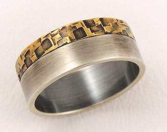 Elegant engagement ring for men - man wedding band ring,sterling silver and  rustic brass
