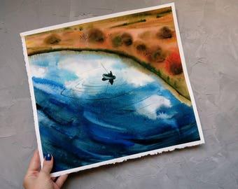 Watercolor landscape Original Painting Autumn colors Autumn landscape Landscape with a river Fisherman