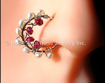 Silver Nose Ring/Beaded Nose Ring/Beaded Nose Hoop-Rhyolite Garnet and Pearl Nose Ring/Pearl Nose Ring/22G / 20G / 18G  - Customize