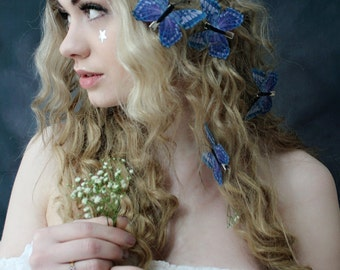 Butterfly crown and hair clips