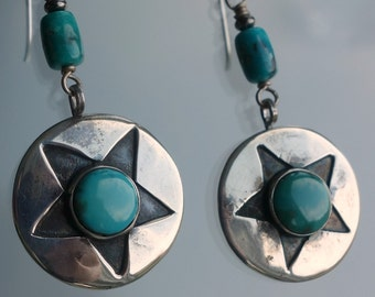 Navajo Star Turquoise Sterling Earrings Pawn
