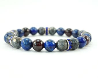 Lapis Lazuli Labradorite Garnet Beaded Bracelet with Rhinestone Accents