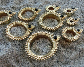 Brass Tunnels⎜Black Onyx ⎜12-20 mm