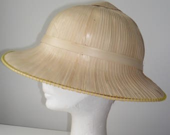 1960s Vintage Straw/Bamboo/Rattan Pith Helmet Sun Hat  - Steampunk