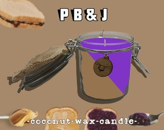 PB & J - peanut butter and jelly scented candle, organic coconut wax, all natural hemp wick, nostalgic themed candle