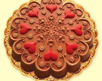 KALEIDOSCOPE VALENTINE HEART Cake/ Cookie/ Crafts/ Chocolate Baking Mold