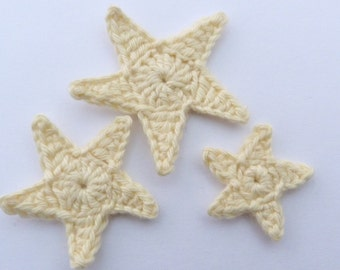 Crochet  stars, Crochet applique, 3 yellow applique stars, cardmaking, scrapbooking, appliques, handmade, sew on patches embellishments