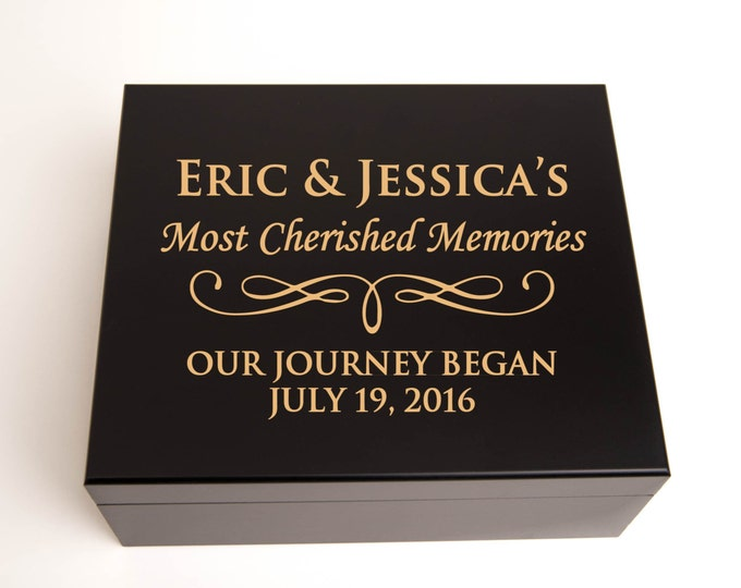 Personalized Memory Box, Keepsake Box, Jewelry Box, Engraved Elegant Wood in Black or Mahogany Finish, Bridesmaid Gift, Maid of Honor