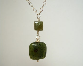 One-of-a-kind Necklace: Faceted Labradorite Cube Bead with Green Square Pillow Stone Strung on Sterling Silver Chain