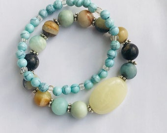 Gemstone Bracelet, Multicolored Bracelet, Stacking Bracelet, Agate Bracelet, Stretch Bracelet