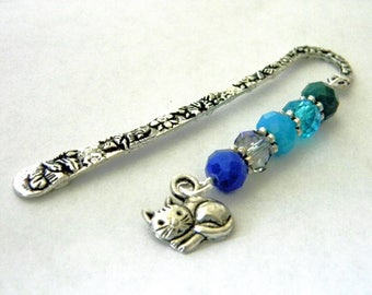 Cat Bookmark with Blue Glass Bead Mix Short Shepherd Hook Bookmark Silver Color