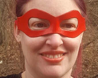 Red Molded Leather Mask with Cloth Tie - Superhero Pirate Comic Ninja Costume