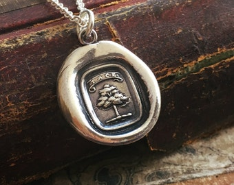 Wax Seal Necklace Tree - Strong and Silent - Strength Necklace - Wax Seal Jewelry in sterling silver