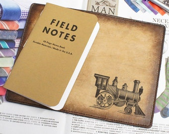Field Notes Leather Cover - Locomotive - Customizable - Free Personalization
