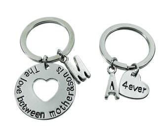 The love between mother and son is forever Matching Keychain Set - Personalized Initial Key Ring, Crystal birthstone