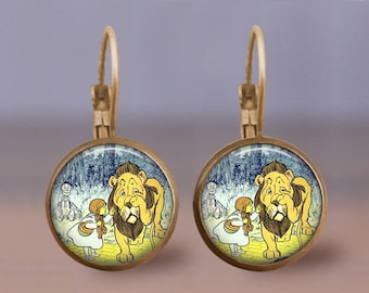 Vintage Wizard of Oz Earrings- Cowardly Lion