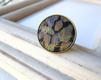 Maori fern vintage button ring