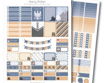 HP inspired RavenClaw Printable Planner Sticker Set, for Erin Condren Life Planner, Instant Download