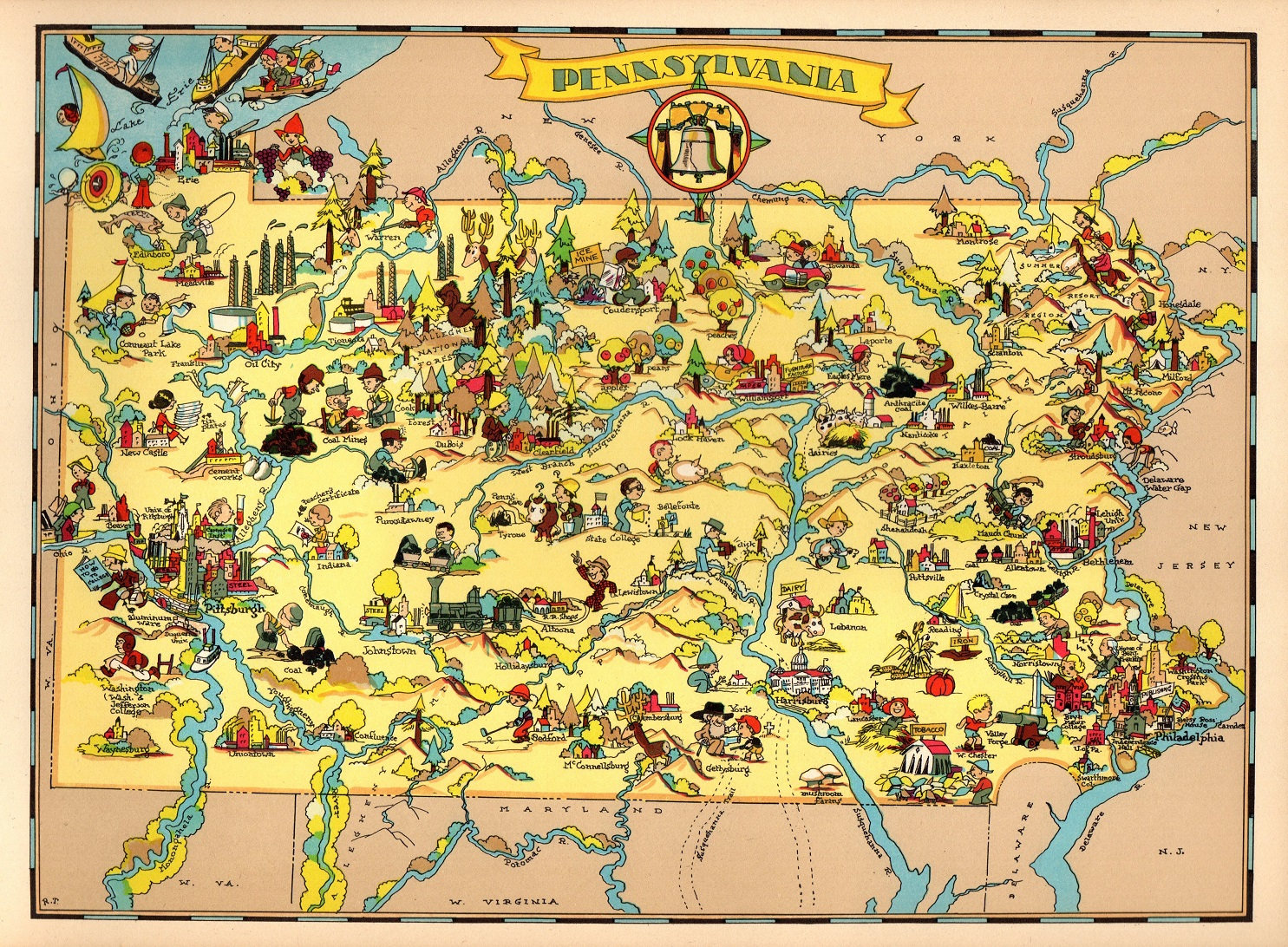 1930\'s Vintage Pennsylvania Picture Map State Cartoon Map
