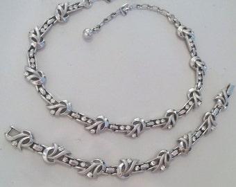 SALE! SET Trifari Demi Parure Silver Rhinestone Set..Trifari Choker and Trifari Bracelet..Trifari Deco Choker Bracelet..Mint