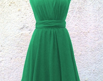 Tailored to Size & Length Infinity Dress two layers with chiffon in green color FREE TUBE TOP wrap dress Convertible/Infinity Dress