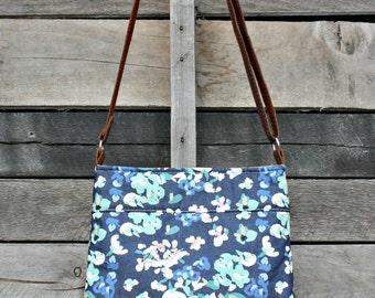 Crossbody Bag, Denim  Floral, Genuine Leather, Adjustable Strap, Everyday Purse