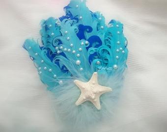 Blue mermaid hair clip, mermaid headpiece,  ocean fascinator, mermaid costume, mermaid accessories, dance costume, dance hairpiece, mermaids