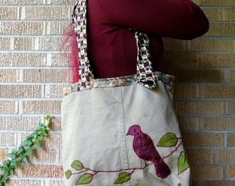 Recycled Tote Bag Ruby Red Bird Upcycled Fabric Scraps