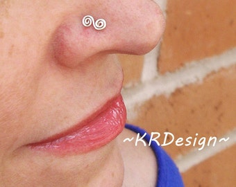 Sterling Silver-14K Gold-Swirl-Spiral-Nose stud-Tragus-Earrings-Customized / Free US Shipping
