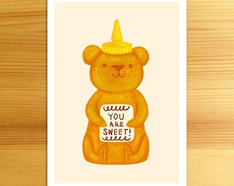 Sweet Honey Bear - 5x7 Art Print