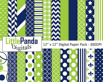 70% OFF SALE Blue and lime green digital paper, scrapbook papers, wallpaper, background, commercial use - D461